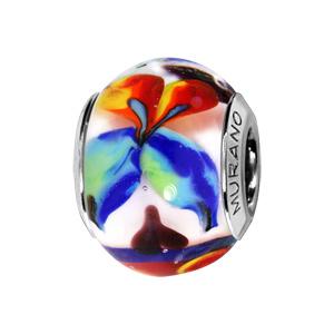 Charms Thabora en argent rhodié et verre de Murano fleur multi couleur - Vue 1