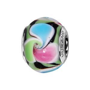 Charms Thabora en argent rhodié et verre de Murano fleur spirale multi couleurs - Vue 1