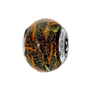 Charms Thabora en argent rhodié et verre de Murano noir moucheté orange et vert avec filament orange - Vue 1