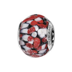Charms Thabora en argent rhodié et verre de Murano touches blanches et points rouge - Vue 1