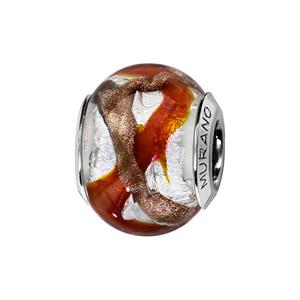 Charms Thabora en argent rhodié et verre de Murano véritable argenté avec 2 bandes en zig-zag, 1 rouge orangé et l\'autre marron doré - Vue 1