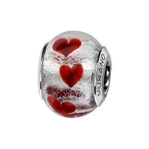 Charms Thabora en argent rhodié et verre de Murano véritable argenté avec petits coeurs rouges