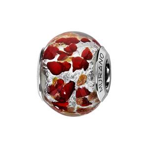 Charms Thabora en argent rhodié et verre de Murano véritable argenté moucheté cuivré et rouge - Vue 1