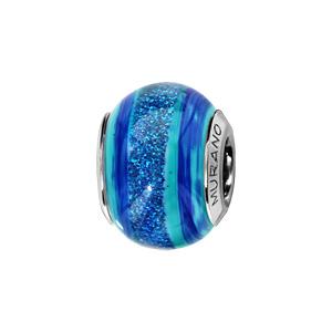 Charms Thabora en argent rhodié et verre de Murano véritable bandes bleu turquoise et bleu foncé avec paillettes - Vue 1