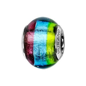 Charms Thabora en argent rhodié et verre de Murano véritable 3 bandes : vert, bleu et violet - Vue 1