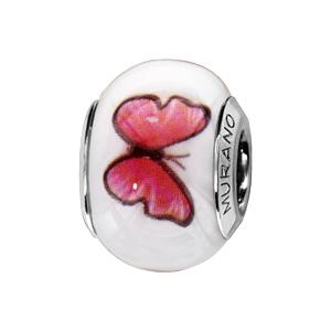 Charms Thabora en argent rhodié et verre de Murano véritable blanc avec papillons rose-rouge - Vue 1