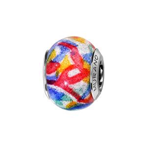 Charms Thabora en argent rhodié et verre de Murano véritable blanc avec touches de couleurs rouge, bleu, jaune et vert d\'eau pailleté - Vue 1