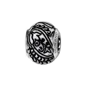 Charms Thabora en argent rhodié et verre de Murano véritable blanc décoré de branches noires et pailleté