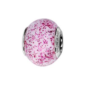 Charms Thabora en argent rhodié et verre de Murano véritable blanc pailletté rose