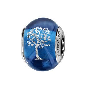 Charms Thabora en argent rhodié et verre de Murano véritable bleu avec arbre de vie argenté - Vue 1