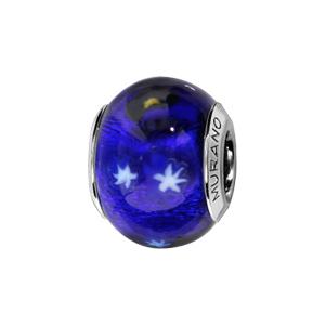 Charms Thabora en argent rhodié et verre de Murano véritable bleu avec étoiles - Vue 1