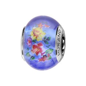 Charms Thabora en argent rhodié et verre de Murano véritable bleu avec fleur rouges et jaunes - Vue 1