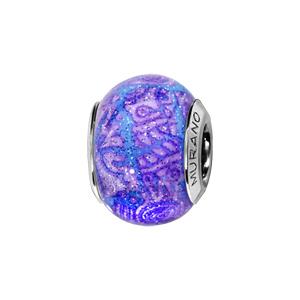 Charms Thabora en argent rhodié et verre de Murano véritable bleu ciel avec motifs violets pailleté - Vue 1