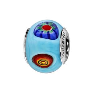 Charms Thabora en argent rhodié et verre de Murano véritable bleu ciel décoré de gouttes multicolores - Vue 1