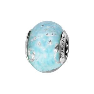 Charms Thabora en argent rhodié et verre de Murano véritable bleu ciel nébuleux avec parties argentées - Vue 1