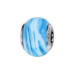 Charms Thabora en argent rhodié et verre de Murano véritable bleu ciel zébré bleu clair - Vue 1
