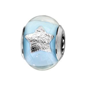 Charms Thabora en argent rhodié et verre de Murano véritable bleu clair avec étoiles argentées - Vue 1