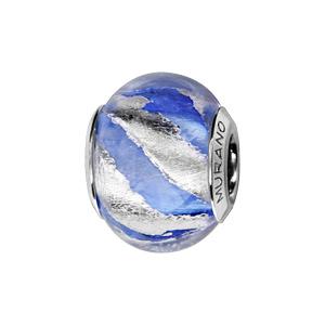 Charms Thabora en argent rhodié et verre de Murano véritable bleu clair zébré argenté en biais - Vue 1