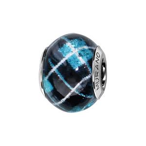 Charms Thabora en argent rhodié et verre de Murano véritable bleu et imprimé carreaux écossais - Vue 1