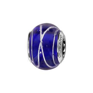 Charms Thabora en argent rhodié et verre de Murano véritable bleu foncé avec filets argentés - Vue 1