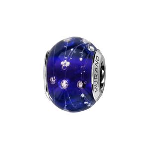 Charms Thabora en argent rhodié et verre de Murano véritable bleu foncé orné de fils et gouttes blancs - Vue 1