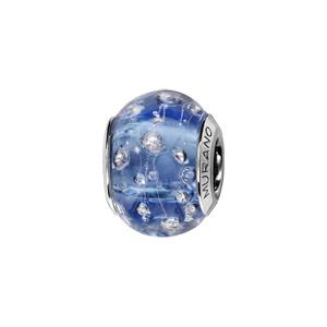 Charms Thabora en argent rhodié et verre de Murano véritable bleu orné de fils et gouttes argentés - Vue 1