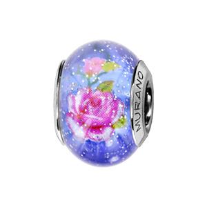 Charms Thabora en argent rhodié et verre de Murano véritable bleu pailleté avec fleurs roses - Vue 1