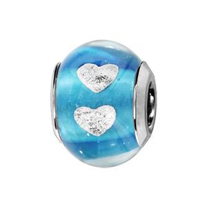 Charms Thabora en argent rhodié et verre de Murano véritable bleu turquoise avec coeurs argentés - Vue 1