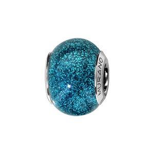 Charms Thabora en argent rhodié et verre de Murano véritable bleu turquoise pailleté - Vue 1