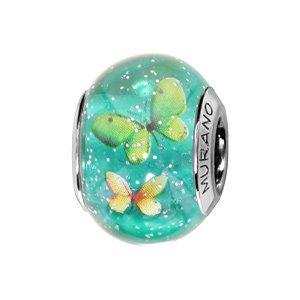 Charms Thabora en argent rhodié et verre de Murano véritable bleu vert pailleté avec papillons verts et jaunes - Vue 1
