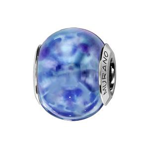 Charms Thabora en argent rhodié et verre de Murano véritable bleus nacrés - Vue 1