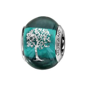 Charms Thabora en argent rhodié et verre de Murano véritable bleu-vert avec arbre de vie argenté - Vue 1