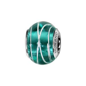 Charms Thabora en argent rhodié et verre de Murano véritable bleu-vert avec filets argentés - Vue 1