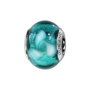 Charms Thabora en argent rhodié et verre de Murano véritable bleu-vert avec tourbillon blanc - Vue 1