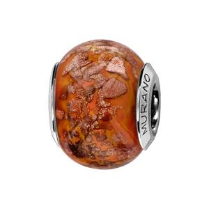 Charms Thabora en argent rhodié et verre de Murano véritable brun orangé avec taches marron doré