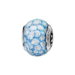 Charms Thabora en argent rhodié et verre de Murano véritable ciel nuageux bleu tacheté de blanc et pailleté