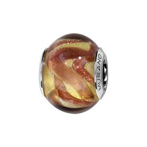 Charms Thabora en argent rhodié et verre de Murano véritable doré avec touches cuivrées - Vue 1