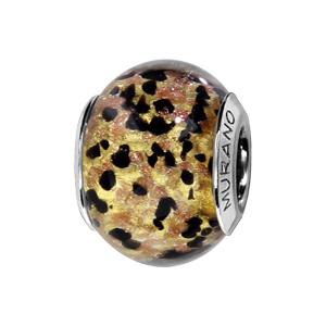 Charms Thabora en argent rhodié et verre de Murano véritable doré moucheté noir et marron - Vue 1