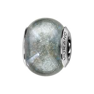 Charms Thabora en argent rhodié et verre de Murano véritable gris effet voie lactée