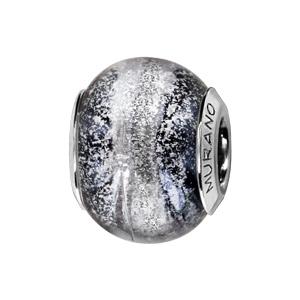 Charms Thabora en argent rhodié et verre de Murano véritable gris et noir argenté effet voie lactée