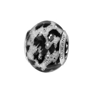 Charms Thabora en argent rhodié et verre de Murano véritable imprimé léopard noir et blanc pailleté - Vue 1