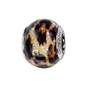 Charms Thabora en argent rhodié et verre de Murano véritable imprimé léopard pailleté - Vue 1
