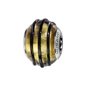 Charms Thabora en argent rhodié et verre de Murano véritable jaune avec filet noir en relief - Vue 1