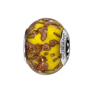 Charms Thabora en argent rhodié et verre de Murano véritable jaune moutarde moucheté cuivré - Vue 1