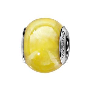 Charms Thabora en argent rhodié et verre de Murano véritable jaune nacré - Vue 1