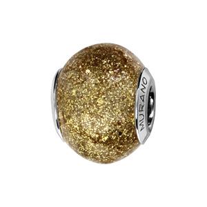 Charms Thabora en argent rhodié et verre de Murano véritable jaune pailleté - Vue 1