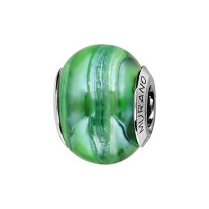 Charms Thabora en argent rhodié et verre de Murano véritable nacré vert - Vue 1