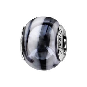 Charms Thabora en argent rhodié et verre de Murano véritable nacré zébré noir et blanc - Vue 1