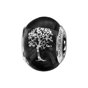 Charms Thabora en argent rhodié et verre de Murano véritable noir avec arbre de vie argenté - Vue 1
