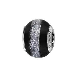 Charms Thabora en argent rhodié et verre de Murano véritable noir avec bande pailletée grise